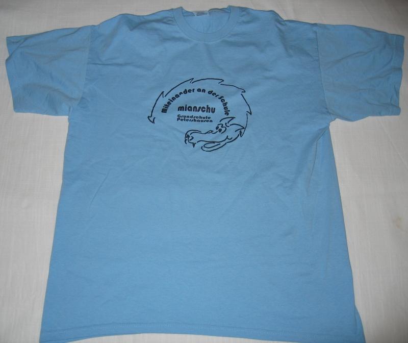 T-Shirt hellblau Mianschu Grundschule Petershausen
